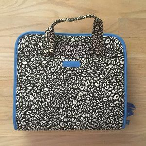 Quilted Cobalt Blue / B&W Animal Print Travel Bag